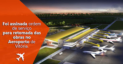 Foi assinada ordem de serviço para retomada das obras no Aeroporto de Vitória.