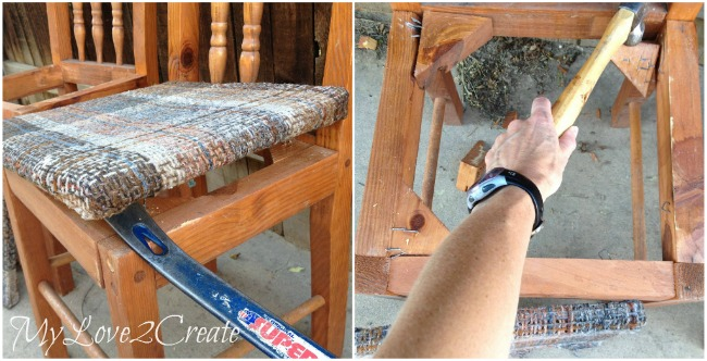 Removing old seats on chairs