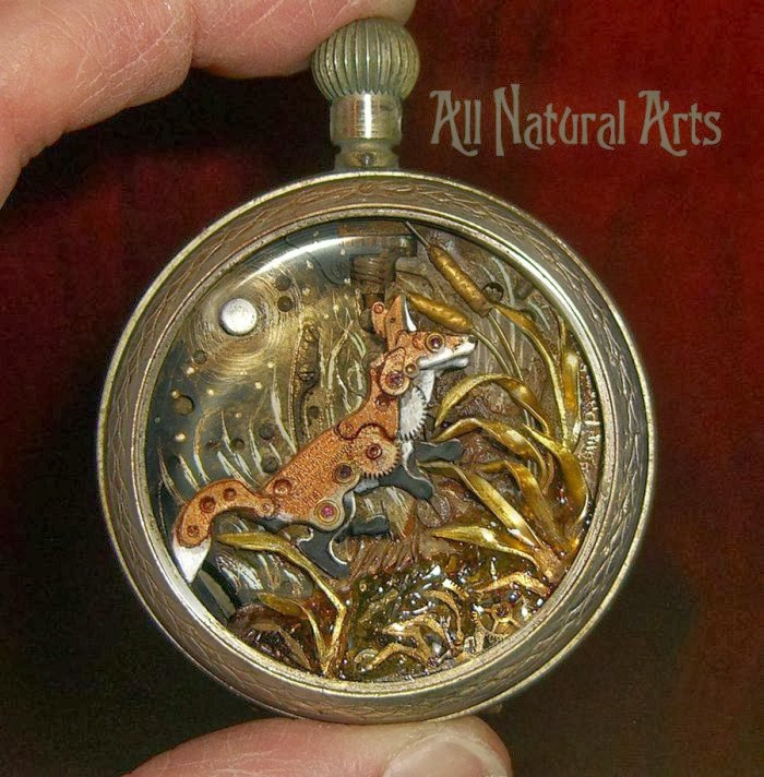 05-Fox-Recycled-Watch-Sculptures-Steampunk-Susan-Beatrice-All-Natural-Arts-www-designstack-co