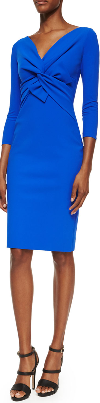 La Petite Robe di Chiara Boni Ilenia Twist-Front Sheath Dress, Cobalt