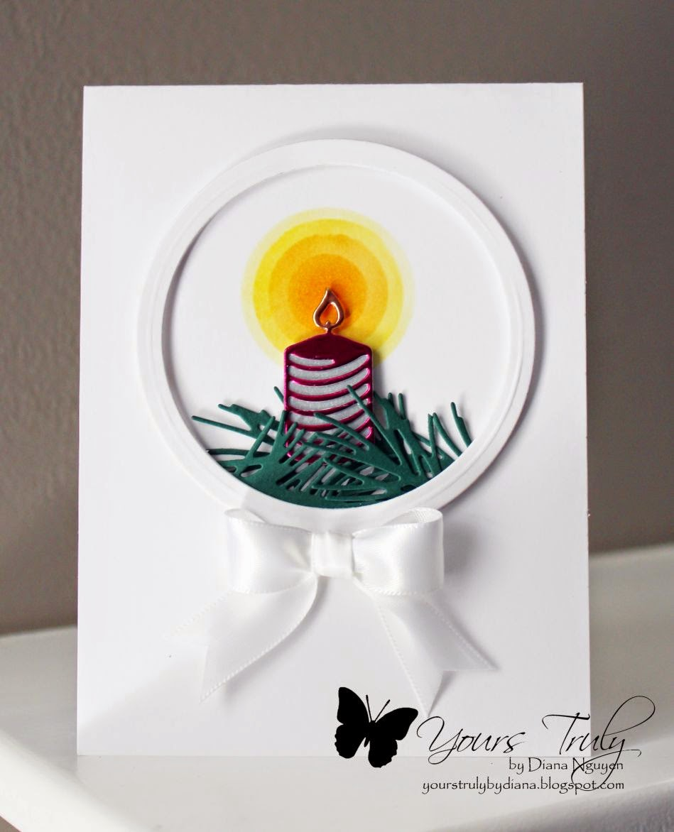 CAS, candle, card, Diana Nguyen, Impression Obsession, Christmas Icons, partial die-cutting