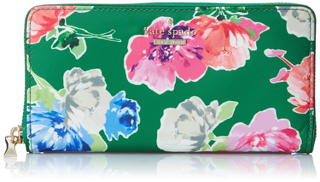 kate spade new york Classic Nylon Lacey Wallet green floral on sale reduced