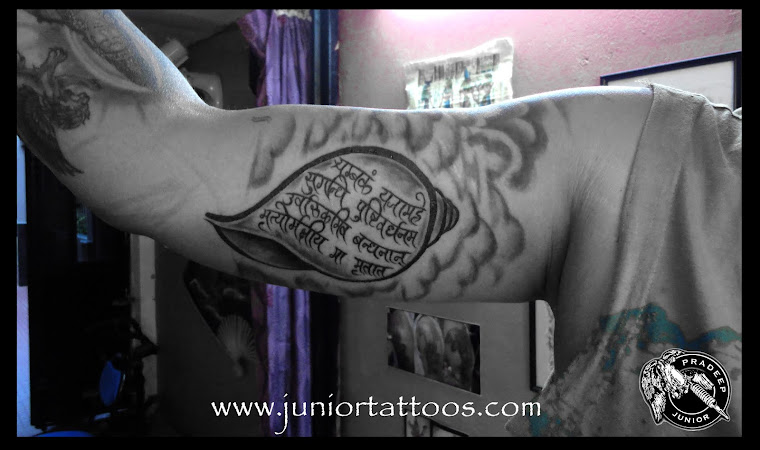 Shanka and Maha Mrityunjai Mantra Tattoo