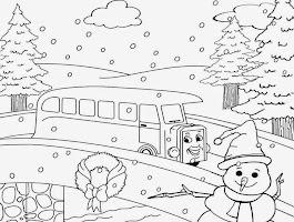 Adult Winter Landscape Coloring Page