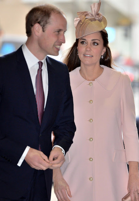 Kate Middleton wore Alexander McQueen Pink Coat Dress, PRADA Raso Clutch, KIKI McDonough Drop Earrings