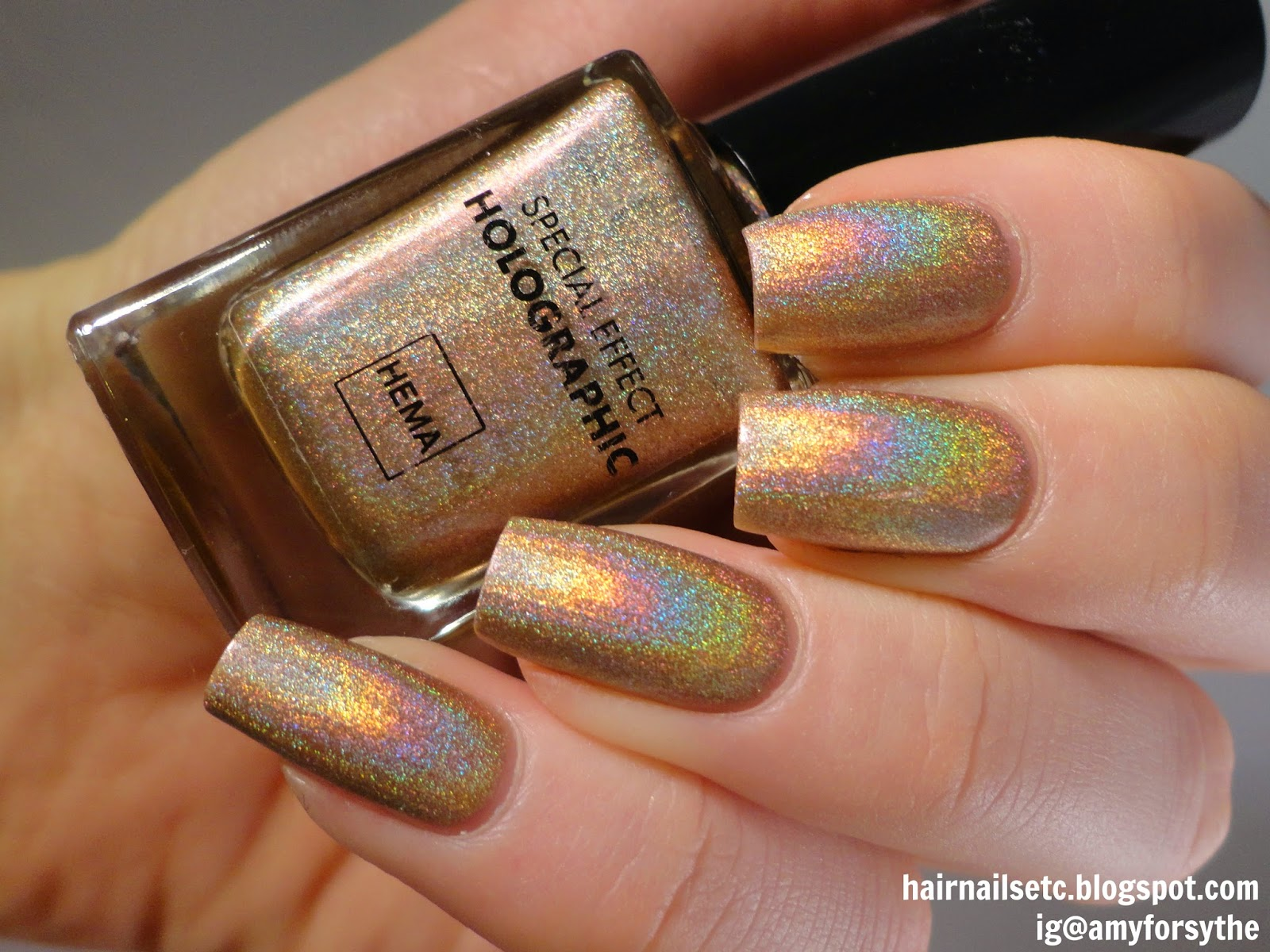 Hema Special Effect Holographic Nail Polish 52 Copper Gold