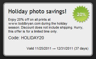 For a limited time, save 20 percent on all prints at toddbryan.com with the code HOLIDAY20