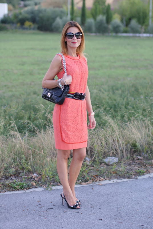 apricot lace dress, Miu Miu shoes
