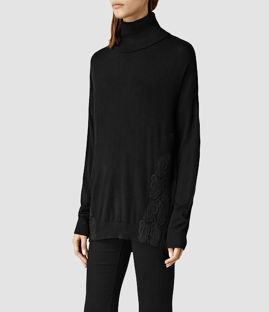 all saints black roll neck top, embroidered roll neck top,