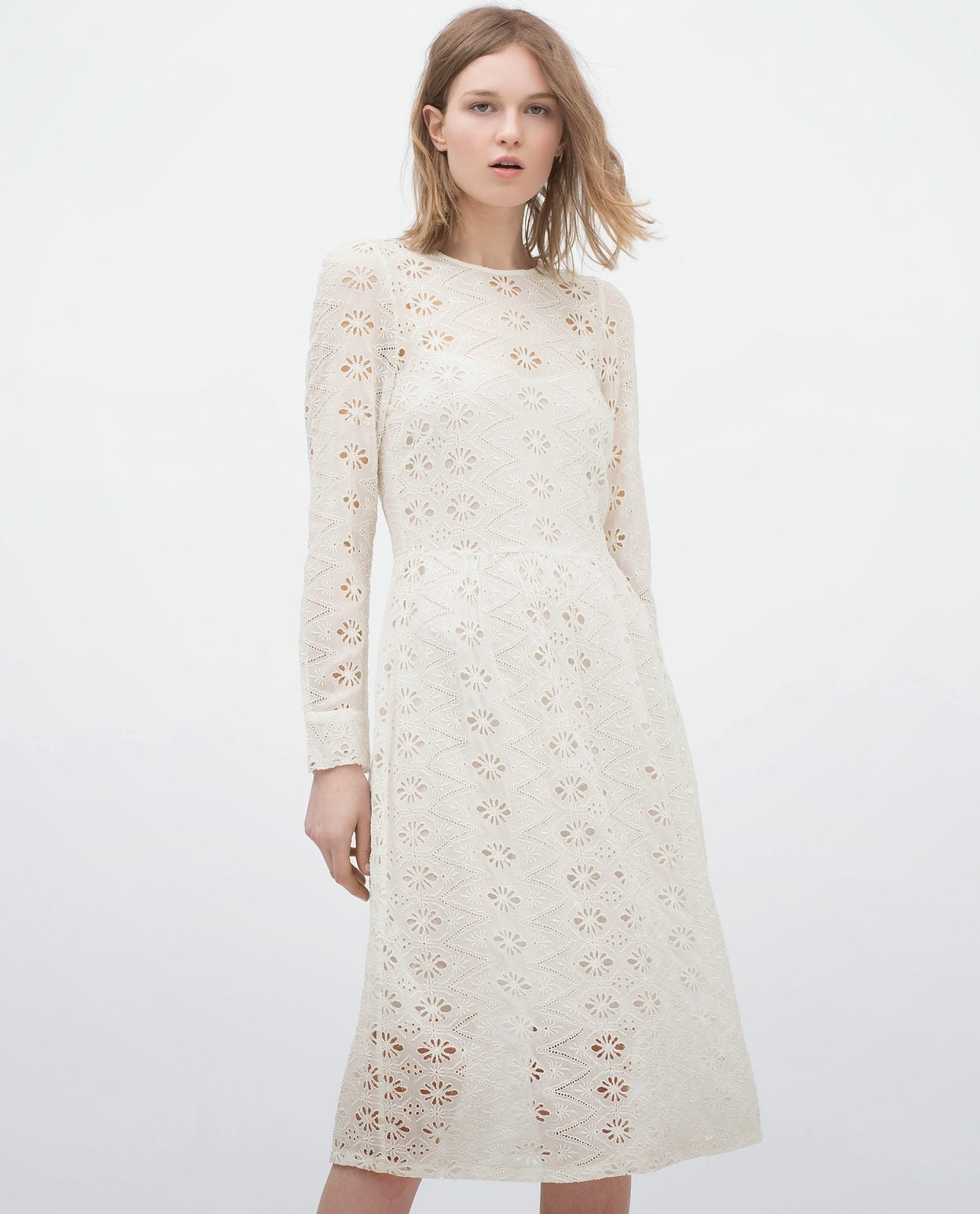 zara white long sleeve dress