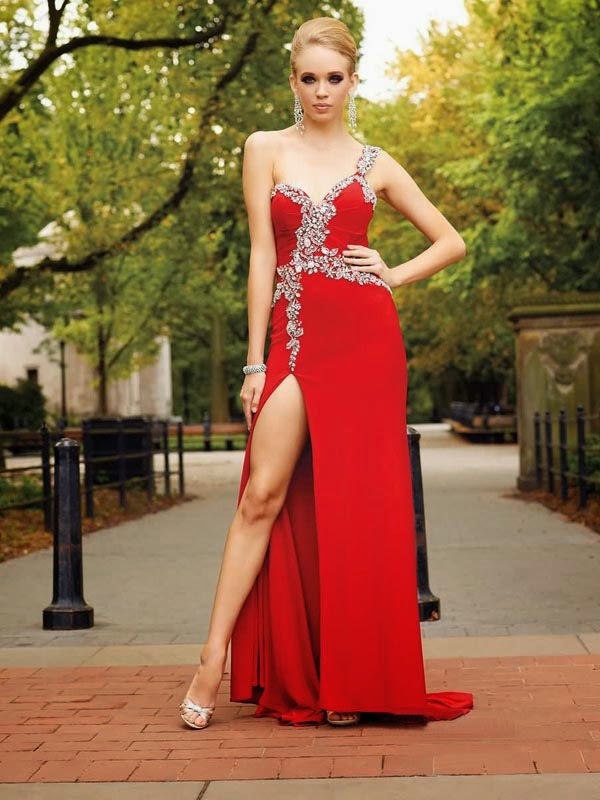 A-line One Shoulder Chiffon Red Long Prom Dresses/Evening Dress With Beading #FC134