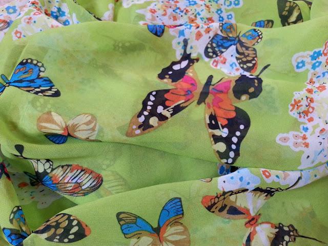 shawl chiffon printed butterfly green