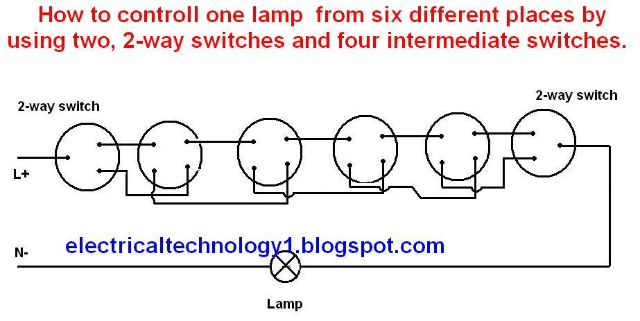 electrical technology how to control one lamp from six different rh electricalstechnology1 blogspot com Wiring Switches in Parallel Wiring 2 Switches to 1 Light
