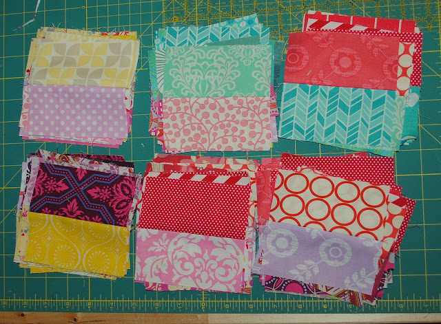 colorful scraps in pairs for scrappy chevron quilt