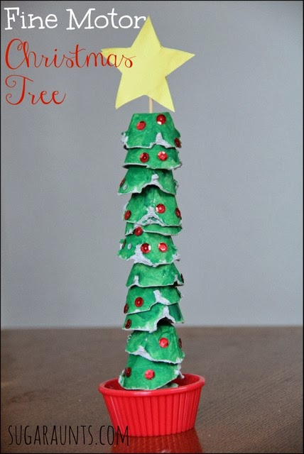 Fine motor egg carton christmas tree activity the ot toolbox for Christmas decorations using egg cartons