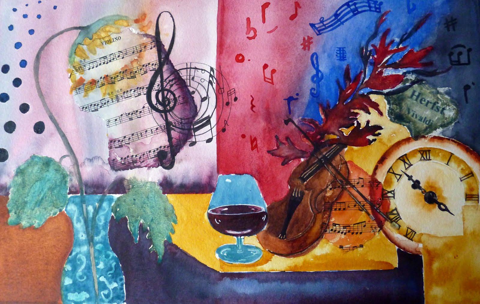 Thema muziek schilderen naar het voorbeeld van Shirly Trevena