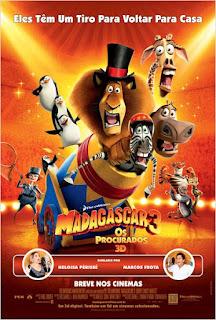 """Pôster brasileiro de """"Madagascar 3: Os Procurados"""""""