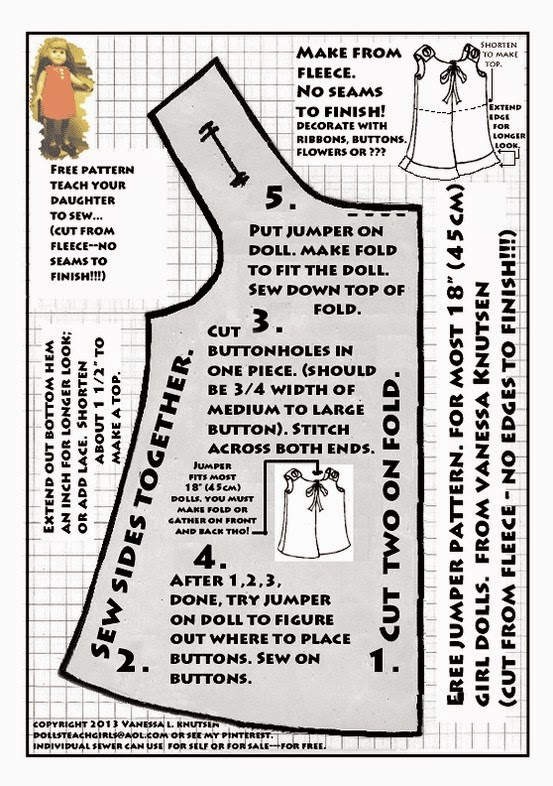 Fan image pertaining to free printable 18 inch doll clothes patterns