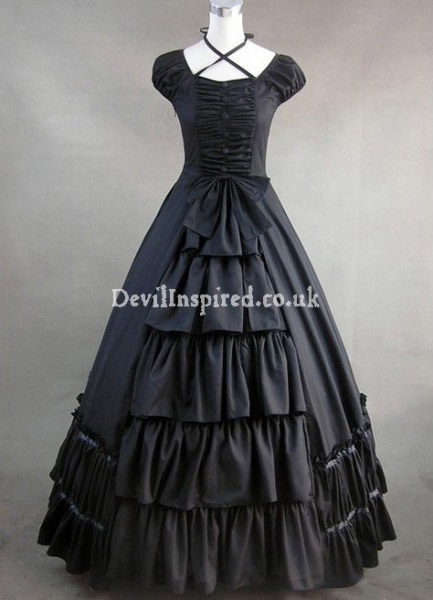Vintage Black Multi-Layered Gothic Victorian Dress