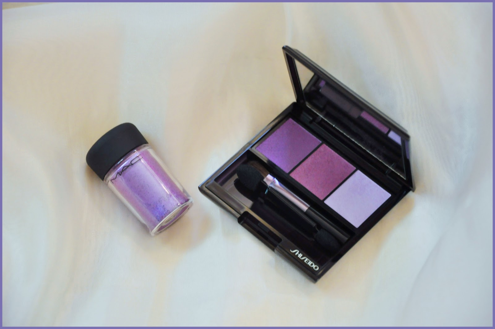 пигмент MAC Violet и тени Shiseido Bouquet