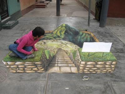 César Paredes - 3d paintings - south american chalk art