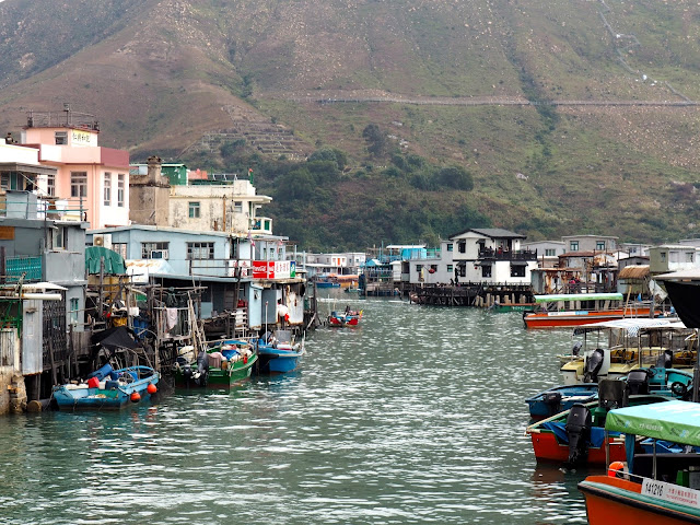 View of the fishing boats and stilt houses in the water in Tai O fishing village, Lantau Island, Hong Kong