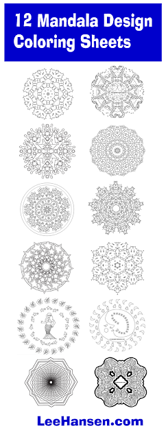 12 Mandala Design Coloring Pages for Adults and Teens