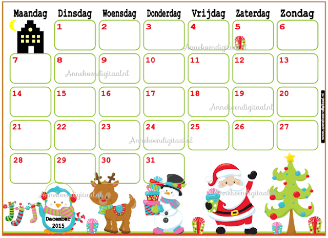 december kalender, advent kalender, kalender december, kalender voor kinderen