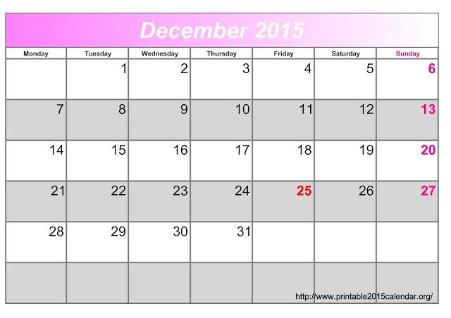 December 2015 Calendar Editable