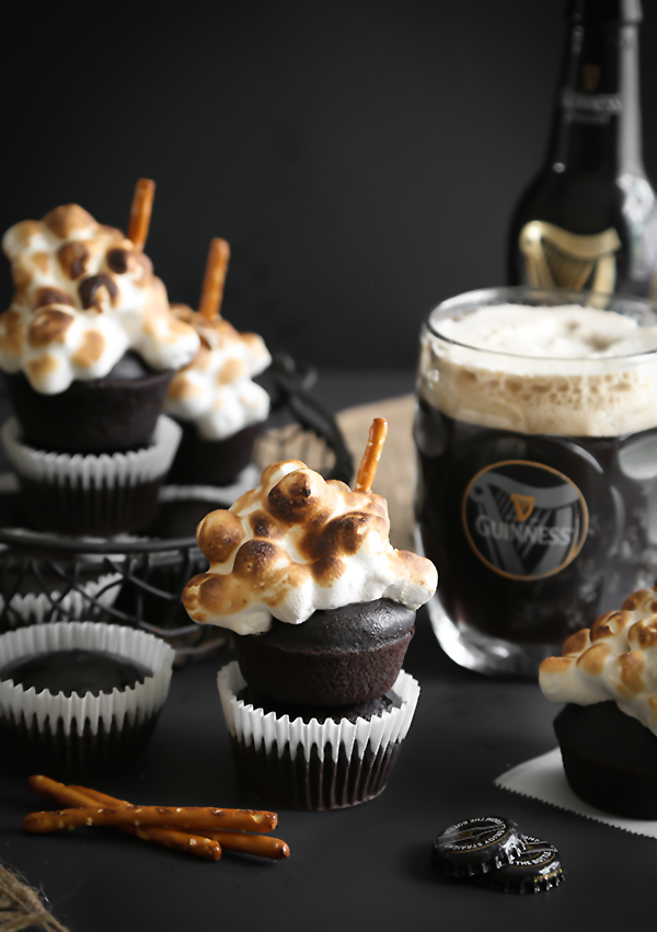 Guinness Cupcakes with Toasted Beer Marshmallow Meringue | Sprinkle ...