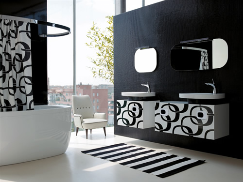 Iluminacion Baño Moderno:Baños modernos de color blanco y negro