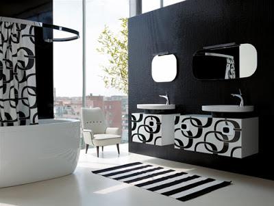 baño moderno en blanco y negro