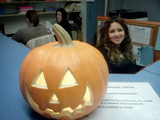photo: Jack O' Lantern at the NYLC front desk