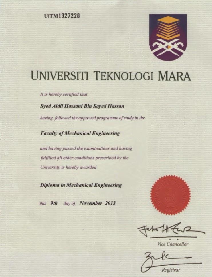 Aidil idrus m cv diploma certificate yelopaper Gallery