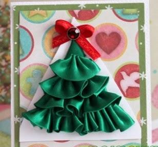 Tarjeta de navidad hecha con cintas portal de manualidades - Tarjeta de navidad para ninos manualidades ...