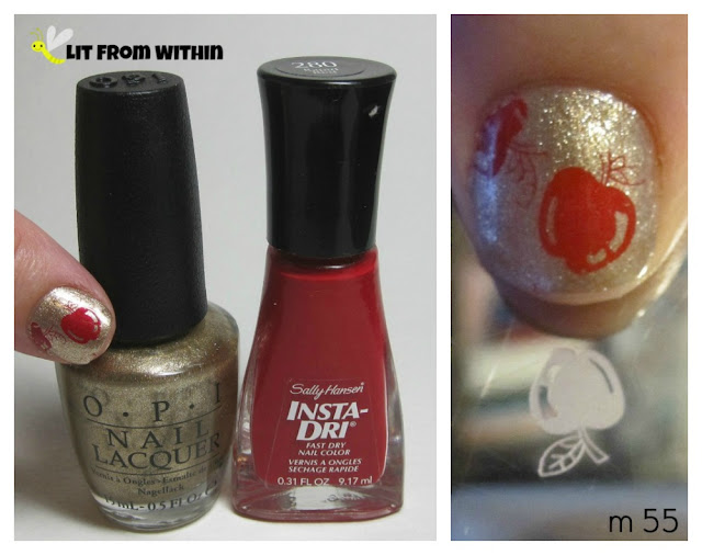 OPI Glitzerland, Sally Hansen Insta-Dri Rapid Red, and my m55 stamping plate.