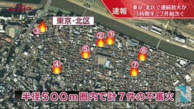 東京都北区で連続放火