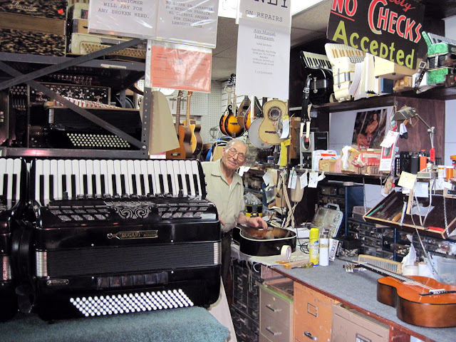 An accordian player can even get his-her instrument repaired by the curator at the Accordian Museum.
