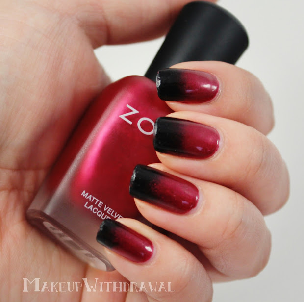 red gradient lips and nails makeup
