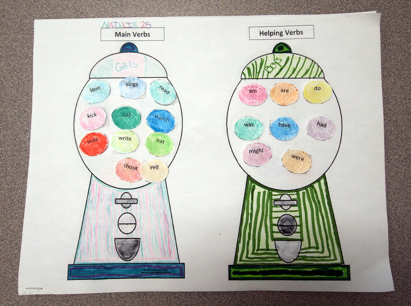 Verb Gumball Sort Joy in the Journey – Main and Helping Verbs Worksheet