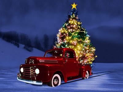 Papel de parede natalino árvore de natal no carro