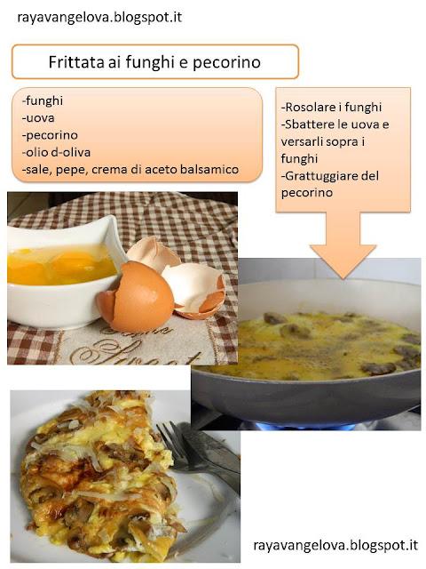 il ricettario da stampare - frittata ai funghi e pecorino con gocce di crema di aceto balsamico