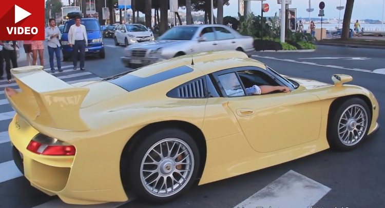 spotted one very yellow extremely rare porsche 911 gt1 in cannes. Black Bedroom Furniture Sets. Home Design Ideas