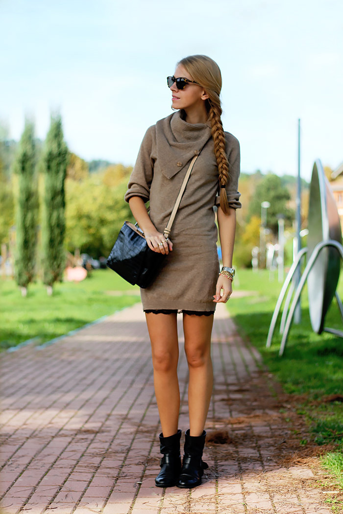 knit dress over slip dress, zara biker boots, fall autumn outfit, illesteva sunglasses