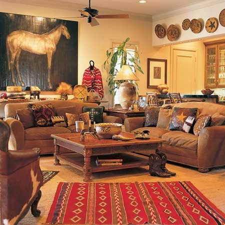 Eye for design decorating the western style home for Country western living room decorating ideas