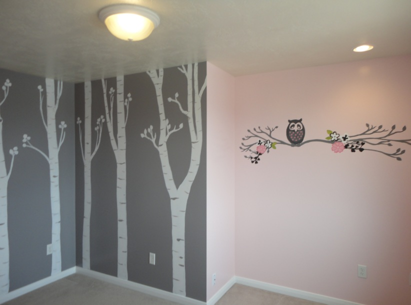 Bawden fine murals nursery 39 s with aspen trees and owls for Aspen wall mural