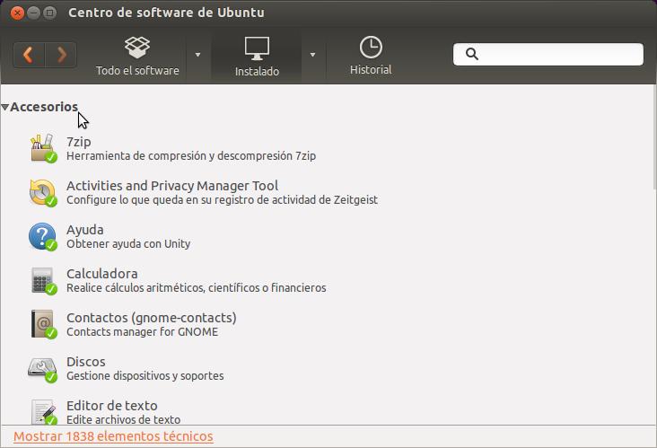 Centro de software de Ubuntu instalados