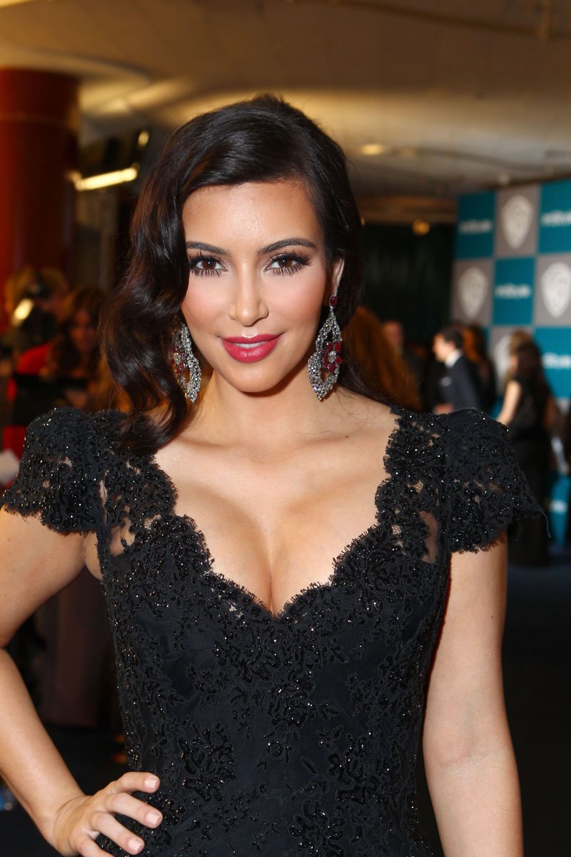 Kim Kardashian Photos at Warner Bros InStyle Golden Globe Party