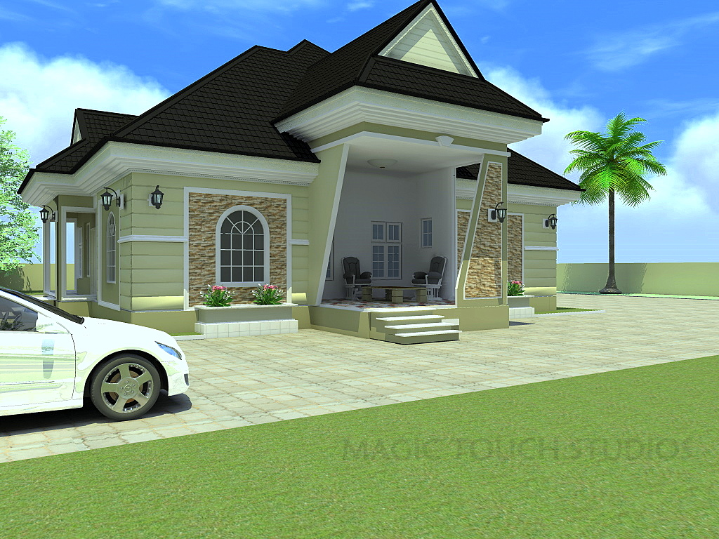 Residential homes and public designs 4 bedroom bungalow for Residential home styles