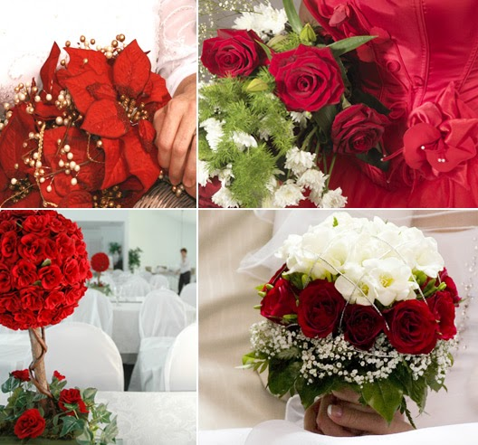 Beautiful red winter wedding flower ideas for Red wedding flower ideas